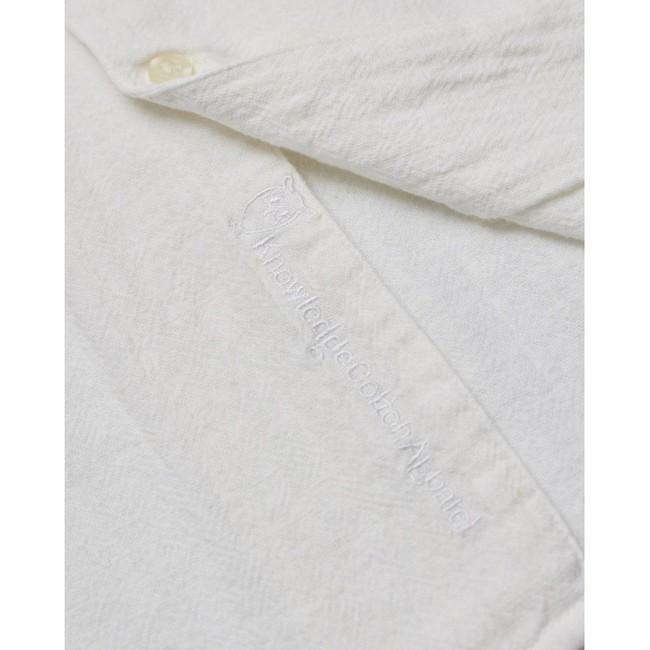 Chemise à manches courtes blanche en lin et coton bio - wave - Knowledge Cotton Apparel num 3
