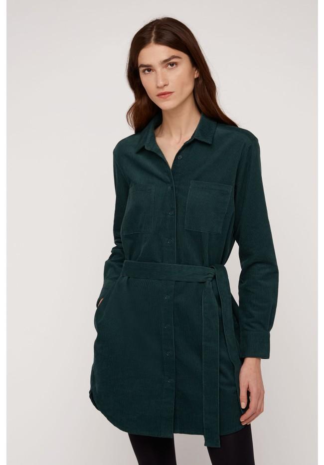 Robe chemise verte velours en coton bio - franca - People Tree num 1