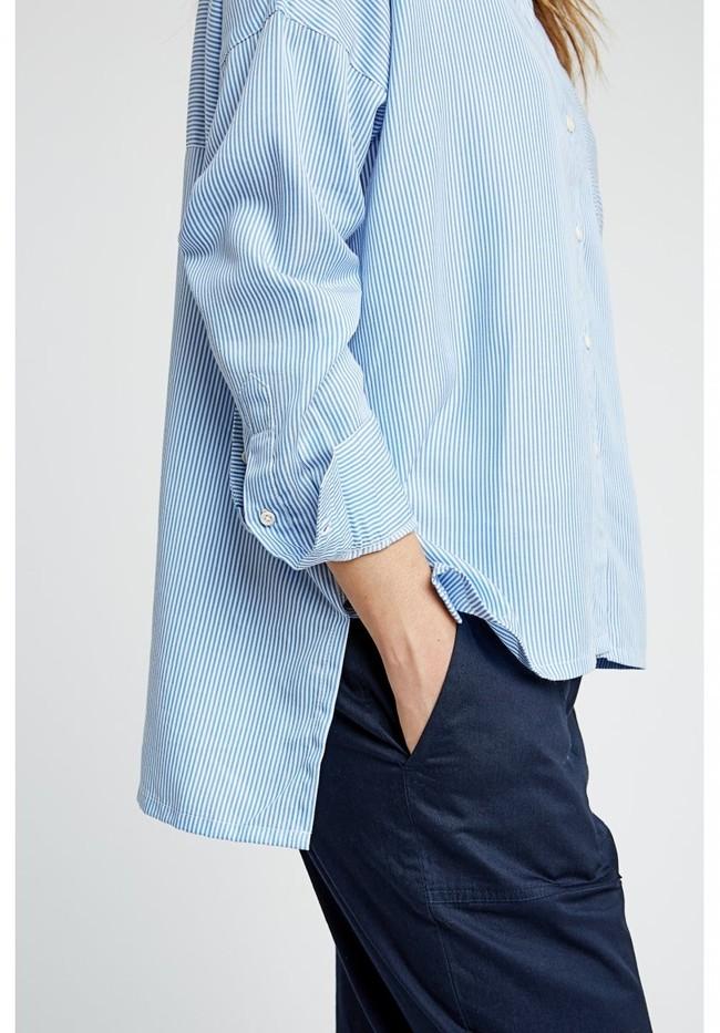 Chemise rayée bleu ciel en tencel - alice - People Tree num 3