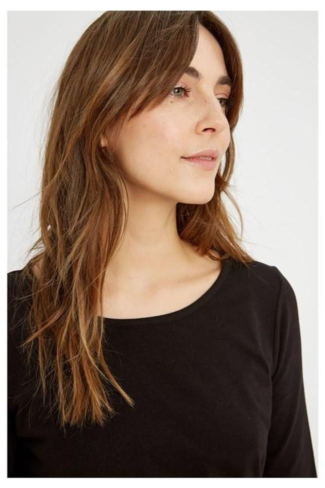 T-shirt à manches longues noir en coton bio - fallon - People Tree num 1