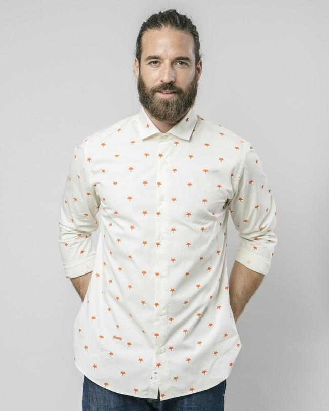 Fox in the snow white printed shirt - Brava Fabrics