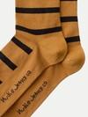 Chaussettes hautes rayées camel et noir en coton bio - olsson - Nudie Jeans - 2