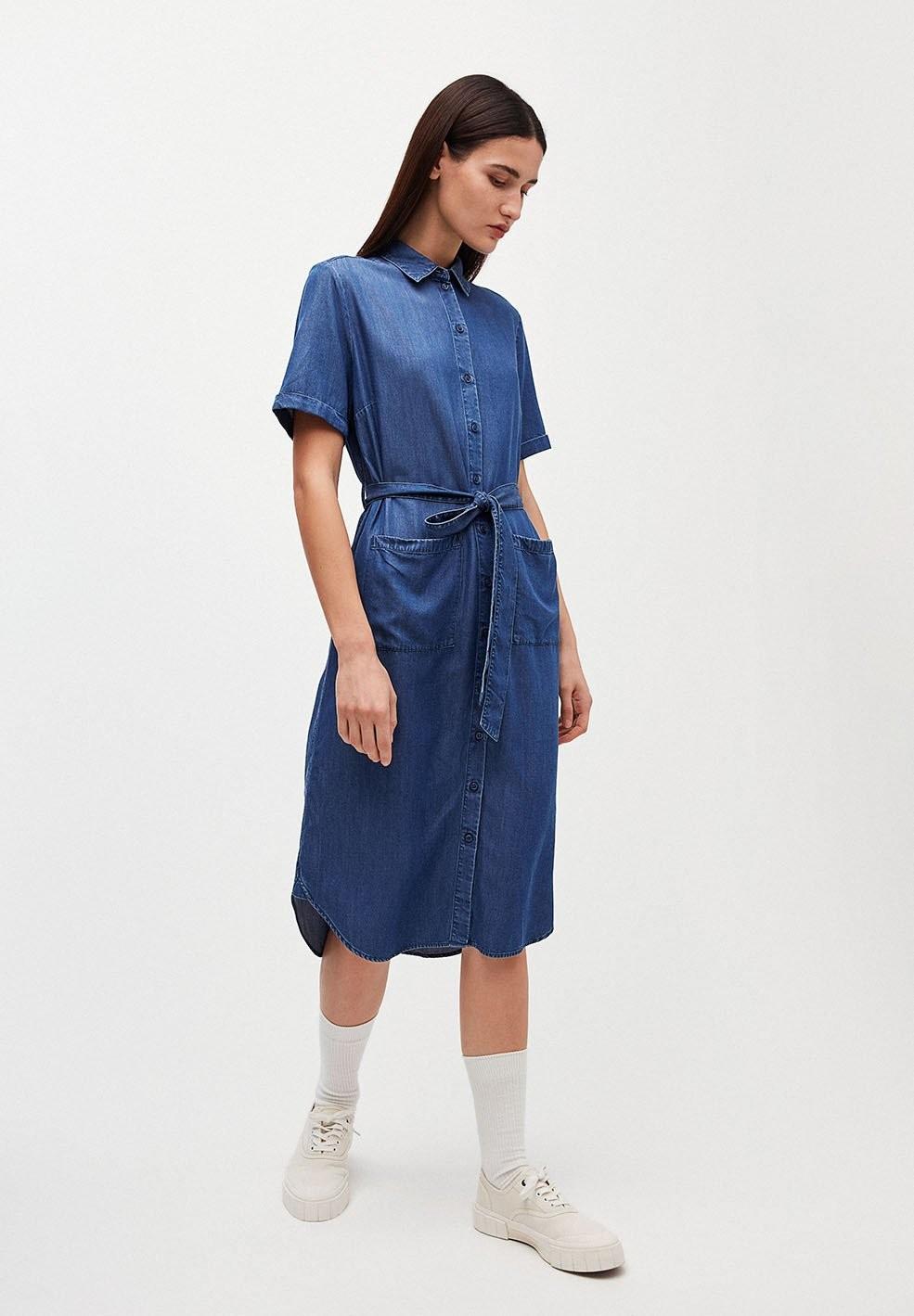 Robe col chemise bleu jean en tencel - maaisa - Armedangels