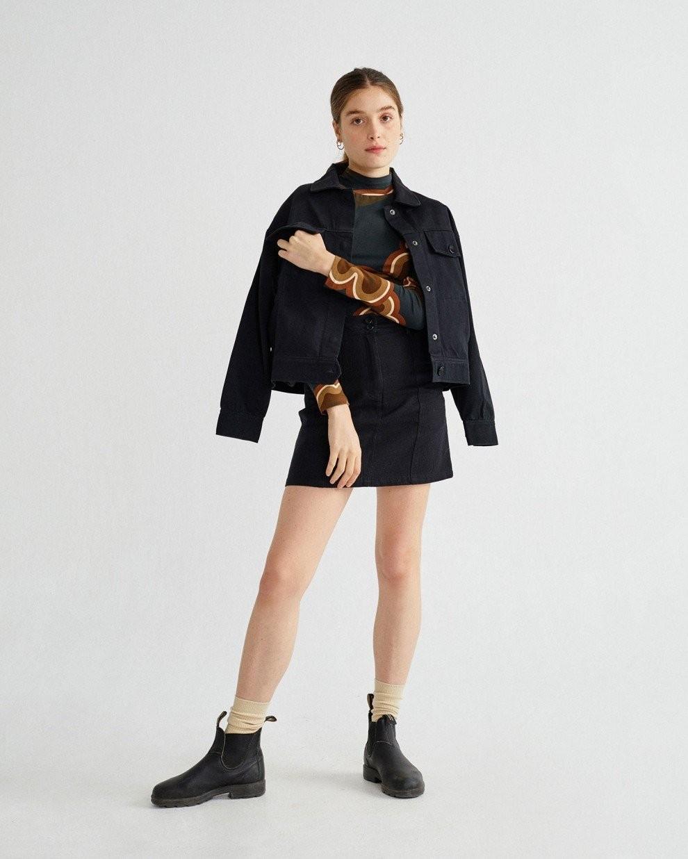Veste noire en coton bio - turan - Thinking Mu