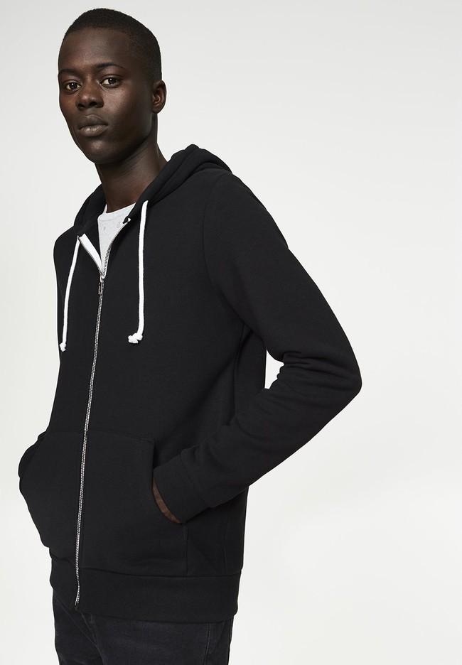 Veste zippée noire en coton bio et polyester recyclé - joaa - Armedangels