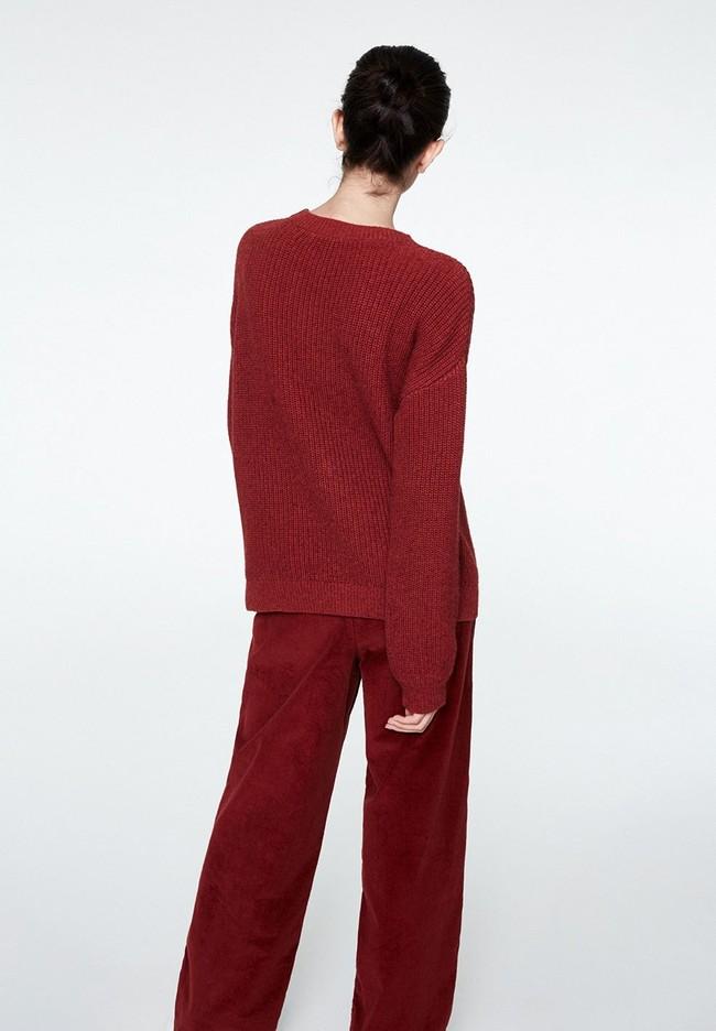 Pull rouge en coton et laine bio - melin - Armedangels num 1