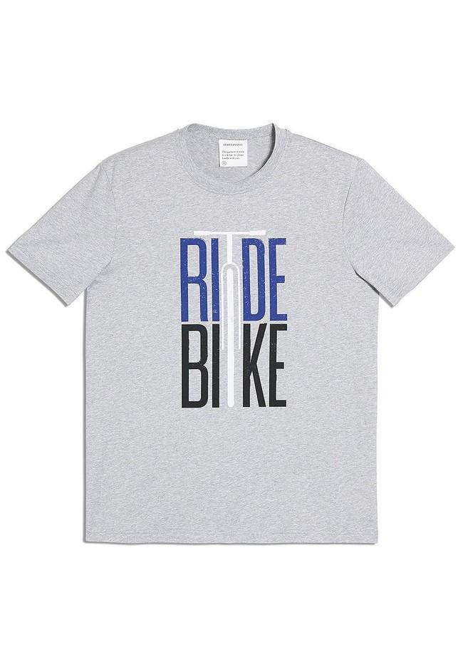 T-shirt imprimé gris en coton bio - aado ride bike - Armedangels num 4
