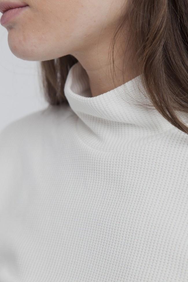 T-shirt manches longues col roulé blanc en coton bio - ellen rib - Thinking Mu num 3