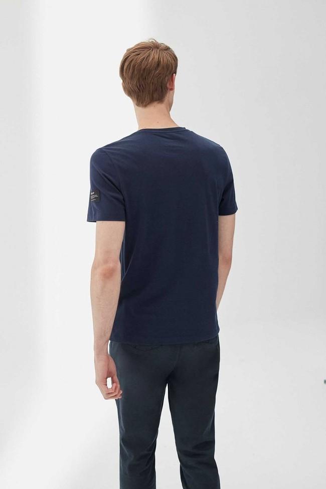 T-shirt imprimé bleu marine en polyester et coton recyclés - natal great b - Ecoalf num 2