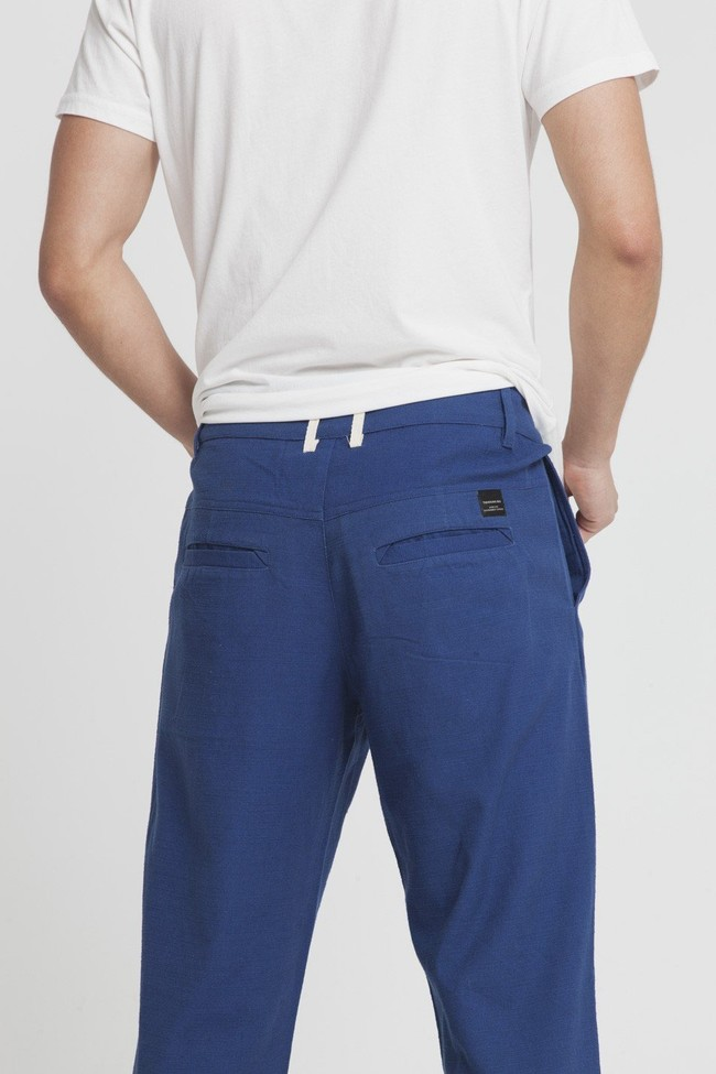 Pantalon bleu en coton bio -blue marcel - Thinking Mu num 1