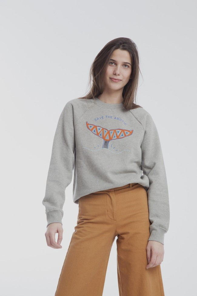 Sweat brodé gris en coton bio - artic raglan - Thinking Mu num 2