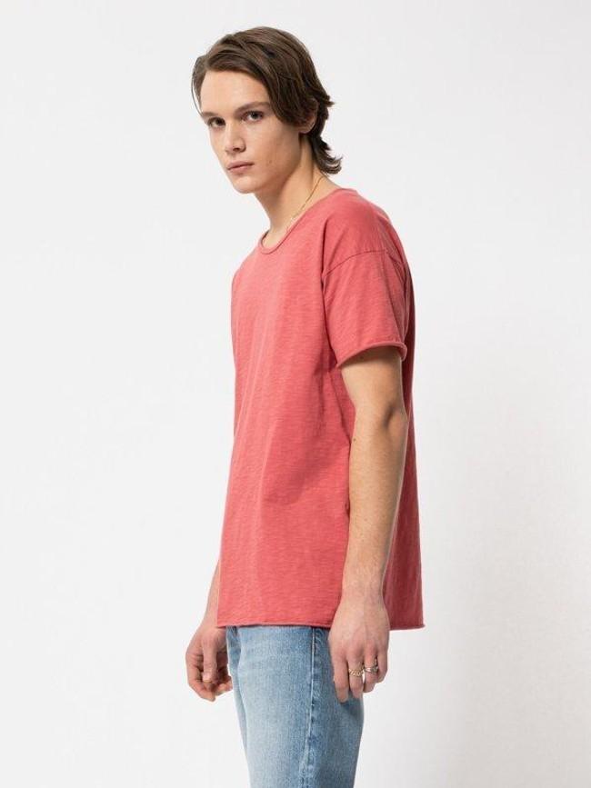 T-shirt corail en coton bio - roger - Nudie Jeans num 1