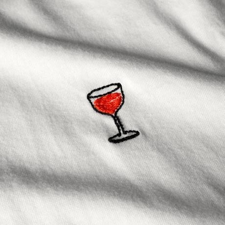 T-shirt blanc motif en coton bio - wine glass - Dedicated num 1