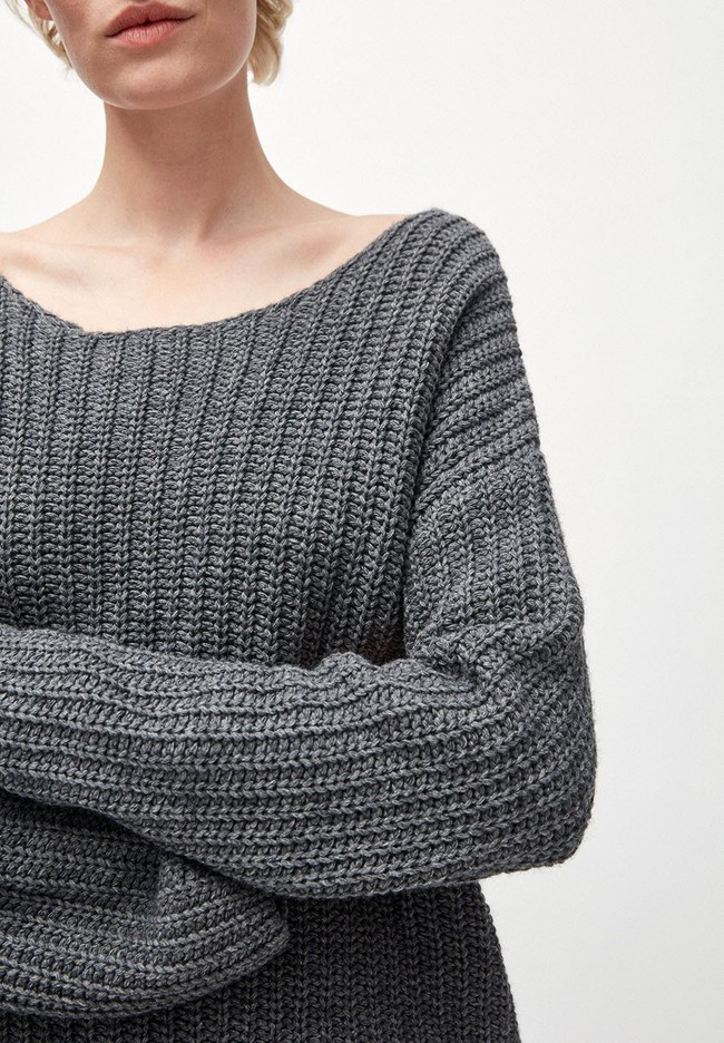Pull en maille gris en coton et laine bio - saadie - Armedangels num 1