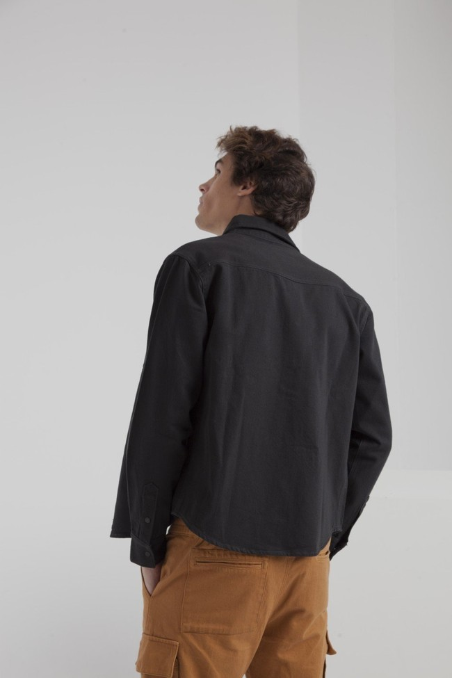 Surchemise noire poches camel twill en coton bio - Thinking Mu num 2