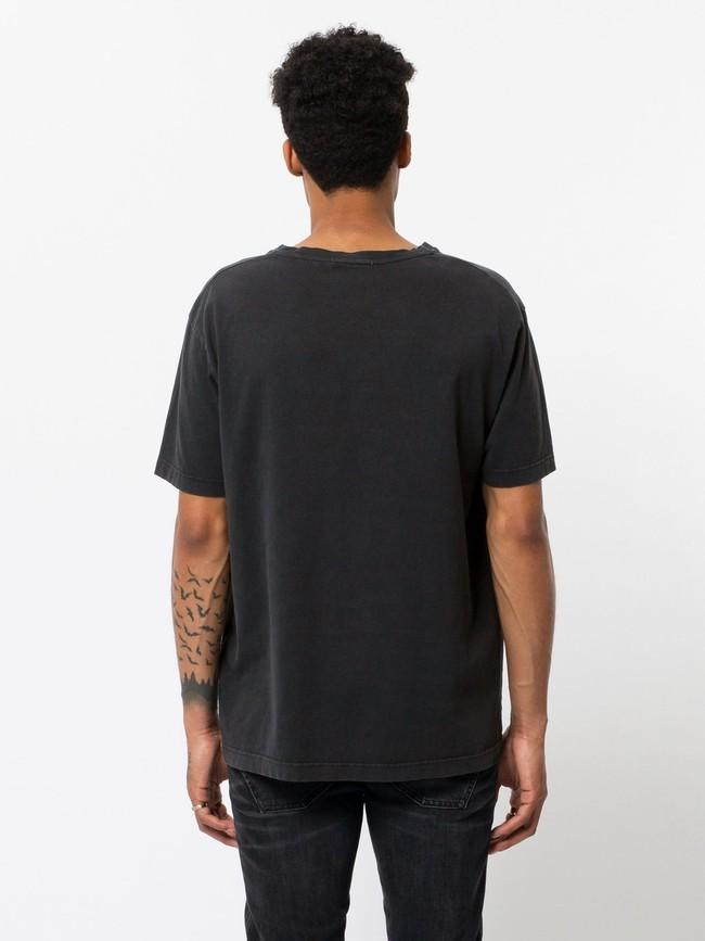 T-shirt noir logo rose en coton bio - uno njco circle - Nudie Jeans num 2