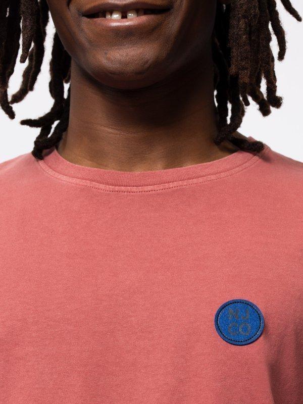 T-shirt ample corail logo bleu en coton bio - uno njco circle - Nudie Jeans num 3