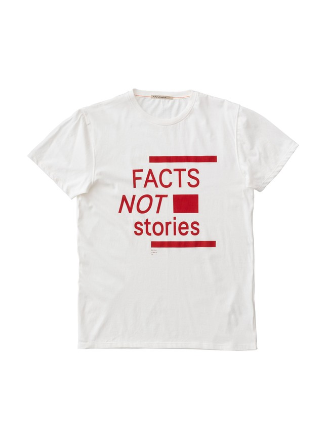 T-shirt imprimé blanc en coton bio - anders facts not stories - Nudie Jeans num 2