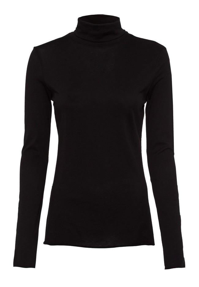 T-shirt manches longues col roulé noir en coton bio - malenaa - Armedangels num 4