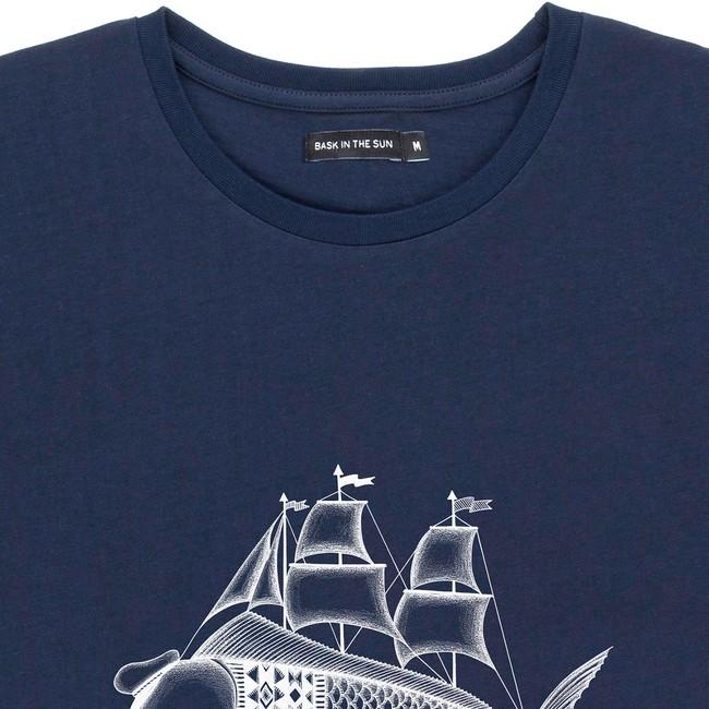 T-shirt en coton bio navy dorado - Bask in the Sun num 1