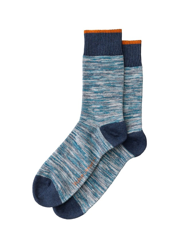 Chaussettes hautes bleu chiné - rasmusson - Nudie Jeans