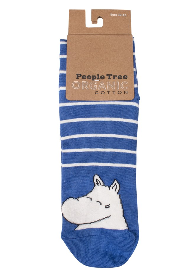 Chaussettes bleues rayées en coton bio - moomin - People Tree