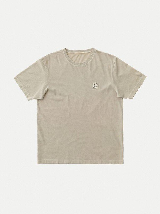 T-shirt ample taupe logo blanc en coton bio - uno njco circle - Nudie Jeans num 5