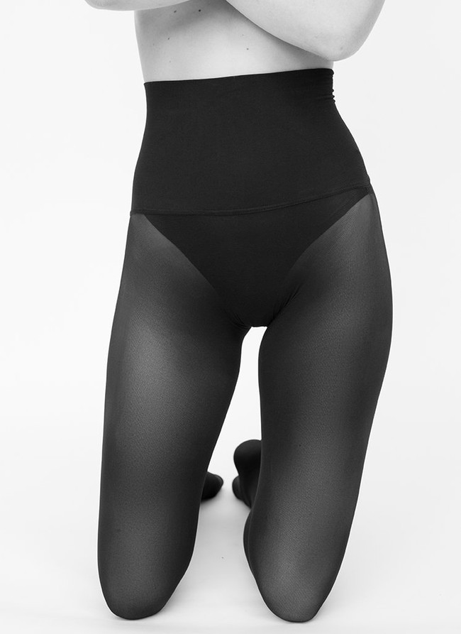 Collants sans coutures 40 deniers noirs recyclés - hanna - Swedish Stockings num 1