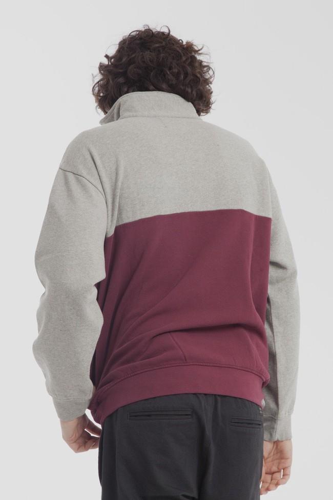 Sweat col zippé bicolore en coton bio - challenger - Thinking Mu num 1