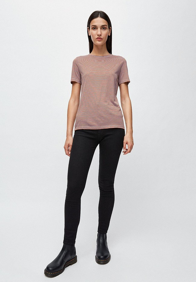 T-shirt rayures lila et marron en coton bio - lidaa - Armedangels num 2