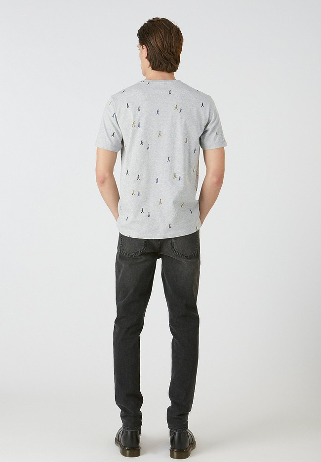 T-shirt gris motifs en coton bio - jaames people - Armedangels num 2