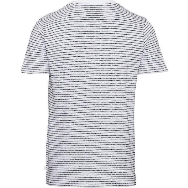 T-shirt rayé blanc en coton bio - alder - Knowledge Cotton Apparel num 1