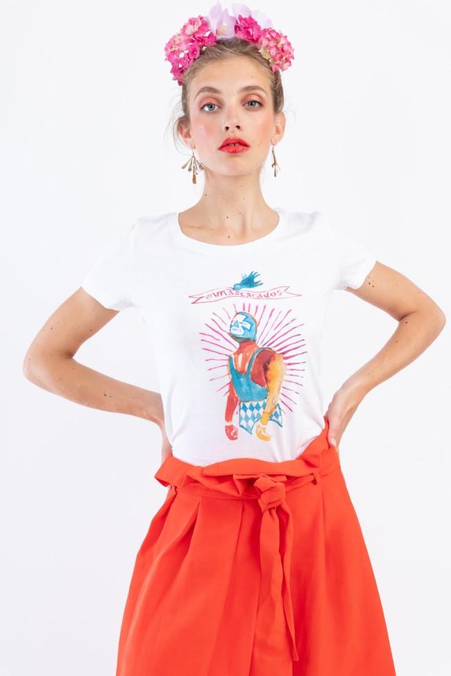 T-shirt motif catcheur lucha libre - Bleu Tango