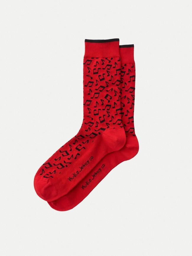 Chaussettes rouges à motifs en coton bio - olsson note - Nudie Jeans