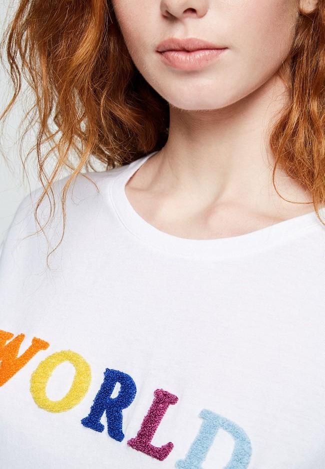 T-shirt avec imprimé blanc en coton bio - naalin world - Armedangels num 3