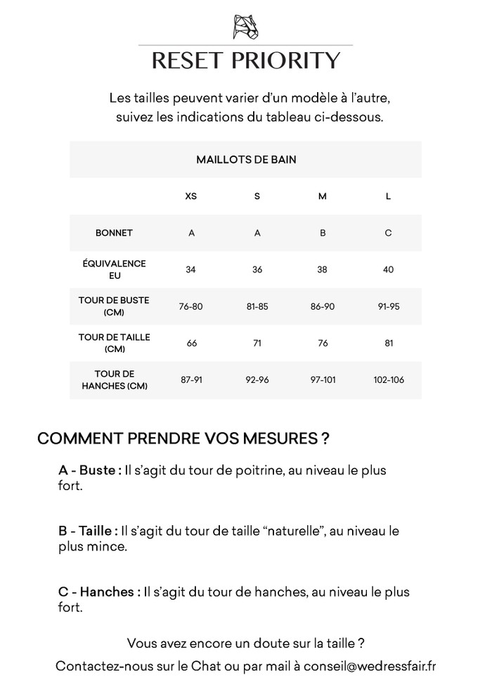 Guide de taille Reset Priority