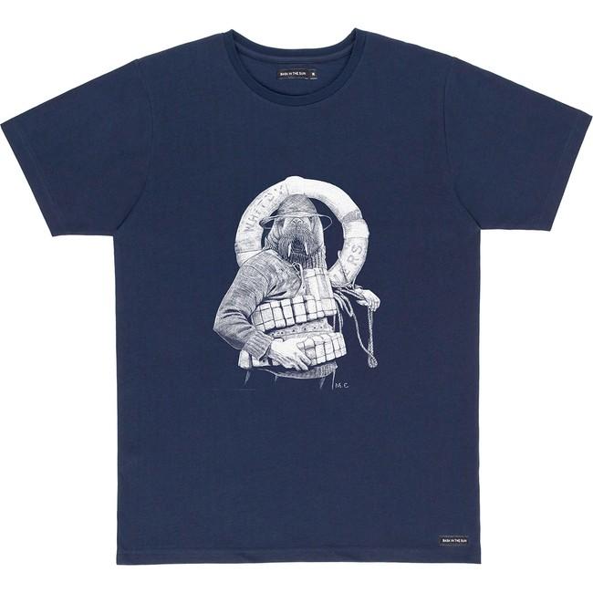 T-shirt en coton bio navy walrus - Bask in the Sun