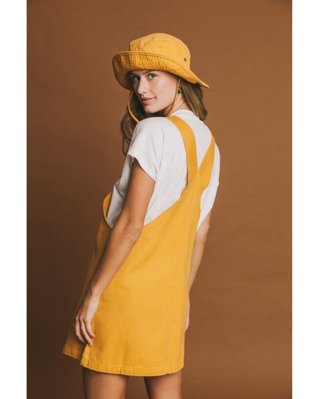 Robe salopette moutarde en chanvre et coton bio - amelie - Thinking Mu num 2