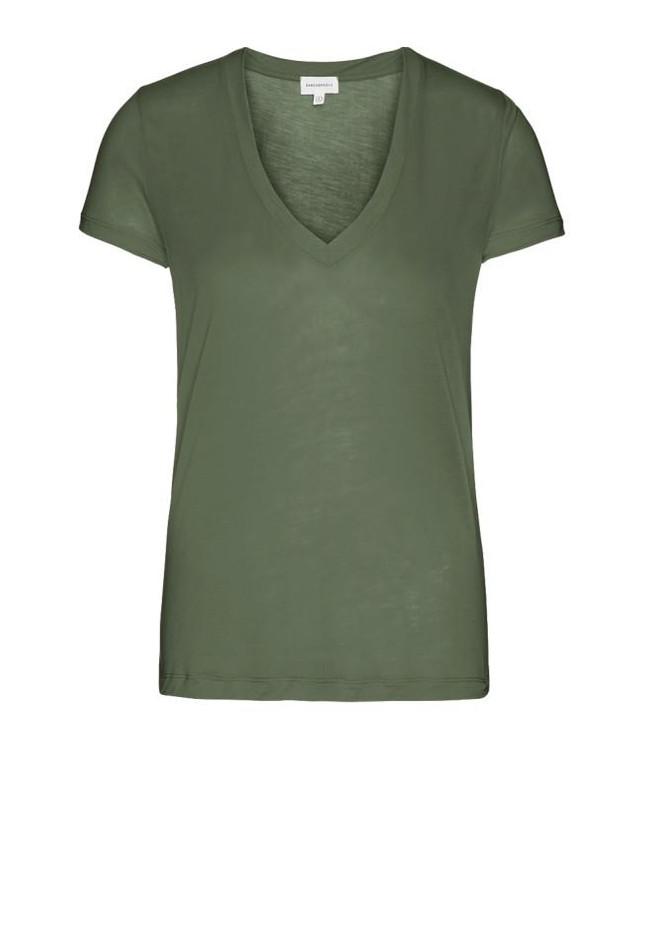 T-shirt col v kaki en tencel - juliaa - Armedangels num 4