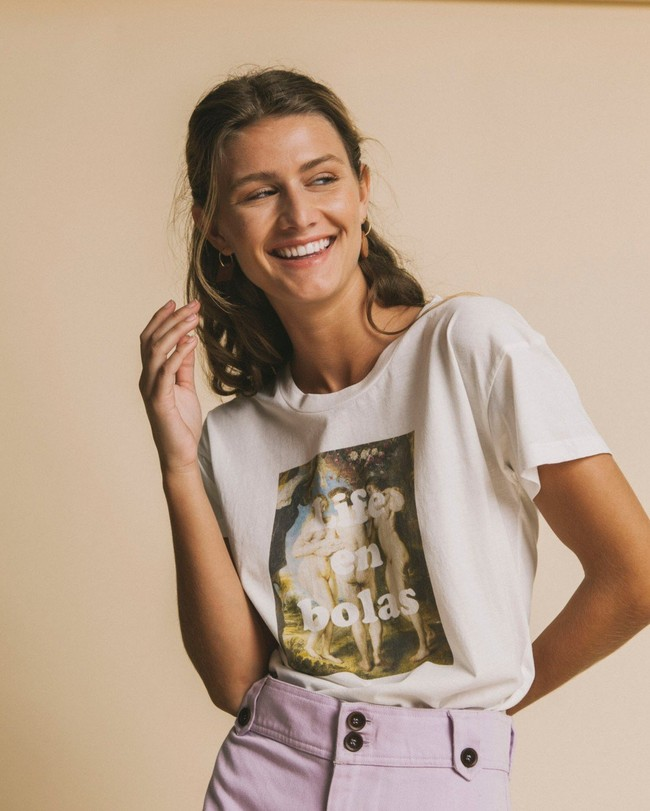 T-shirt imprimé blanc en coton bio - life en bolas - Thinking Mu num 3