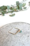 Bague carrée béton et argent - vert - Elle & Sens - 4