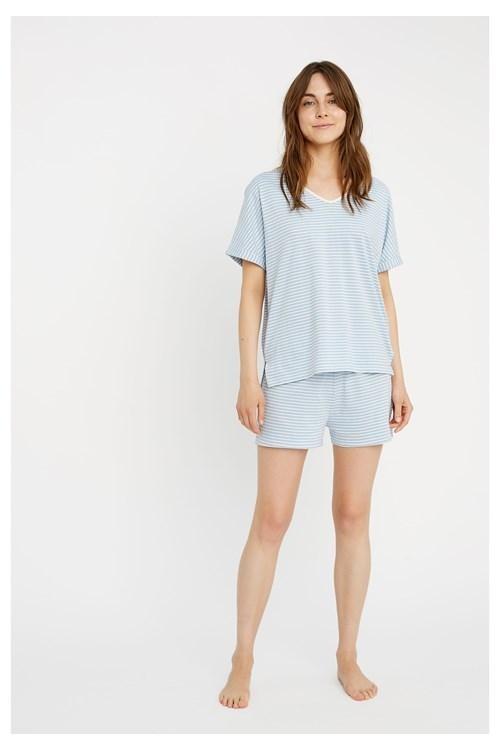 Haut de pyjama rayé bleu en coton bio - People Tree num 2