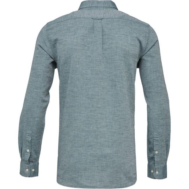 Chemise vert tissé en coton bio - structured shirt - Knowledge Cotton Apparel num 3