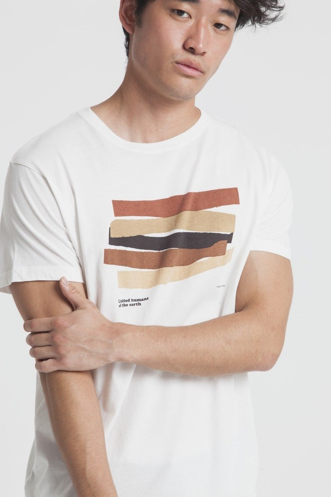 T-shirt imprimé blanc en coton bio - united humans - Thinking Mu num 2