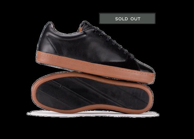 Chaussure en gravière cuir noir / semelle miel - Oth