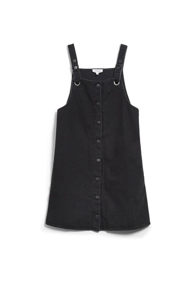 Robe salopette à boutons noire en coton bio - dainaa - Armedangels