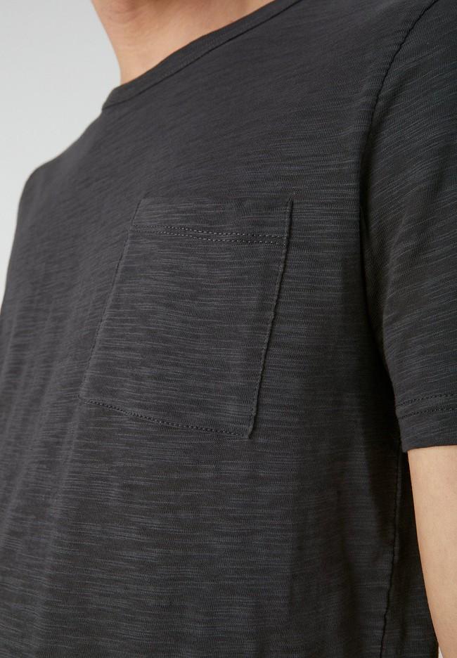 T-shirt avec poche gris chiné foncé en coton bio - paaul pocket - Armedangels num 3