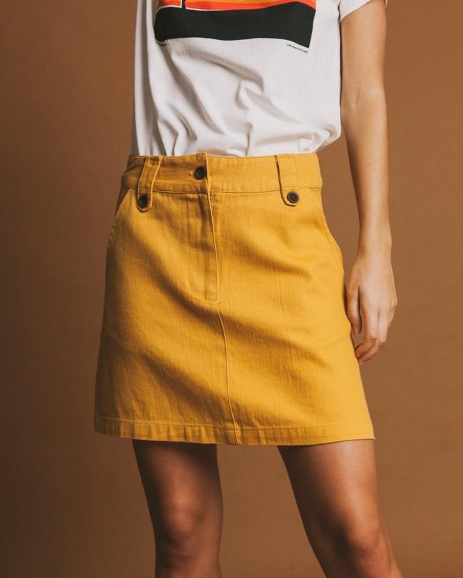 Jupe moutarde en chanvre, coton bio et tencel - marsha - Thinking Mu