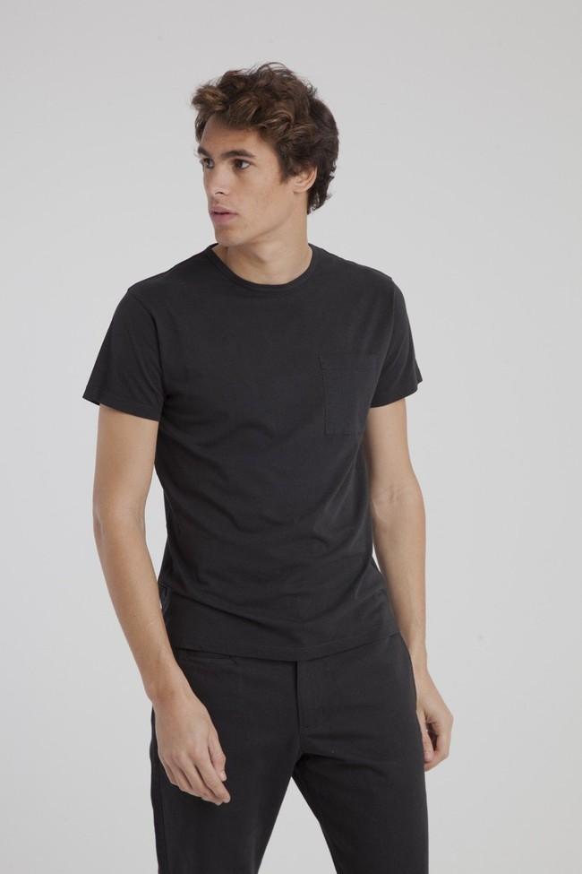 T-shirt uni noir avec poche en coton bio - Thinking Mu num 1