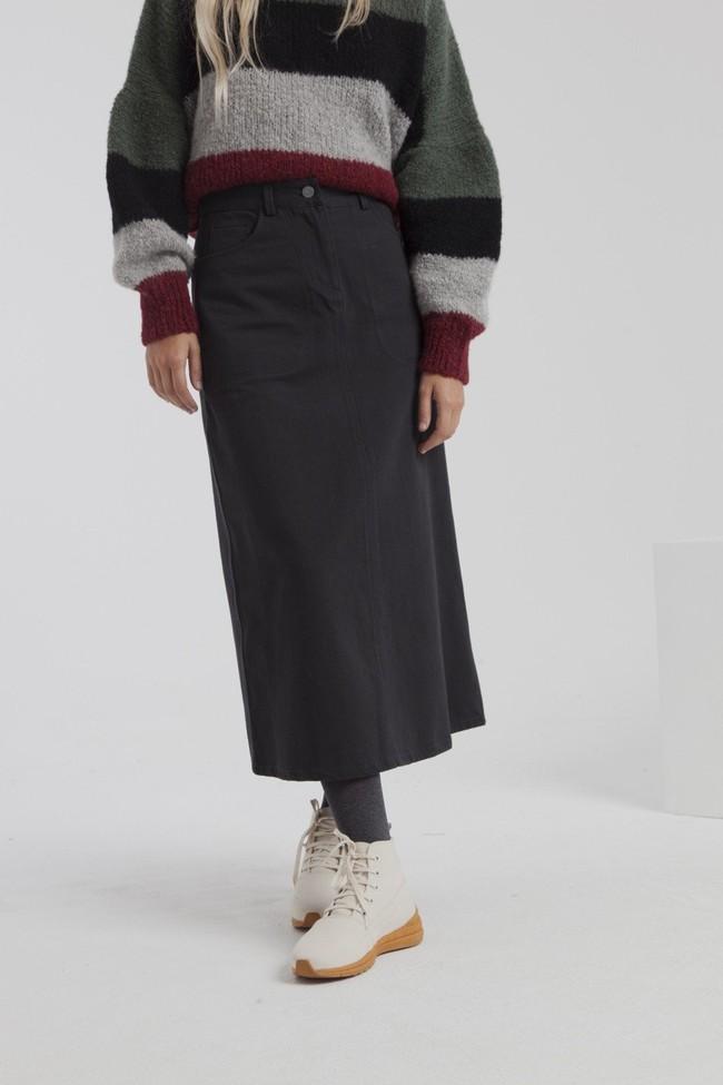 Jupe longue twill noire en coton bio - valentina - Thinking Mu